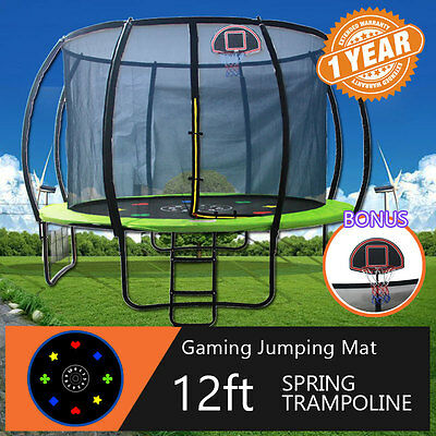 12ft Round Spring Trampoline Free Basketball Set Safety Net Pad Cover Mat Ladder