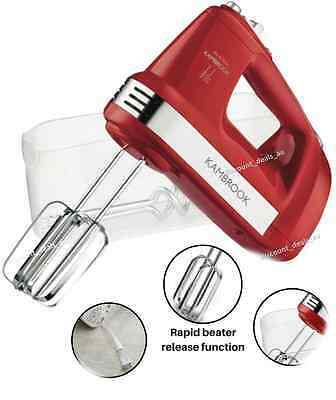 Electric Hand Mixer Whisk Handheld Beater Retro Red Kambrook 300W 5 Speed