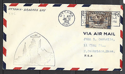1932 Ottawa To Bradore Bay CANADA To USA Airmail Stamp FLIGHT COVER (D8497)