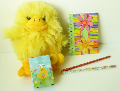 """Plush 10"""" Chick That Squeaks + Chick Puzzle + Flower Decorated Notepad +"""