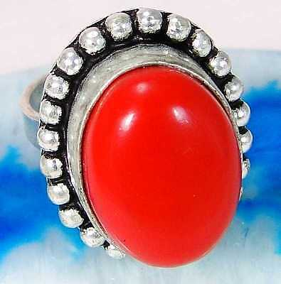 Red Coral & 925 Silver Handmade Lovely Ring Size Adjustable G75-32179