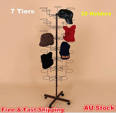7 Tiers Hat Cap Display Stand Rack With 35 Holders Rotating Spinner Metal Floor