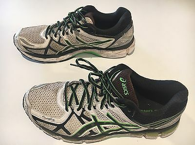 Asics Kayano 21 White/Black/Green Mens runners Sz 10 US, Good Used condition