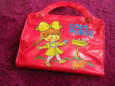 vintage 60's red plastic child's coin purse with mirror never used just stored