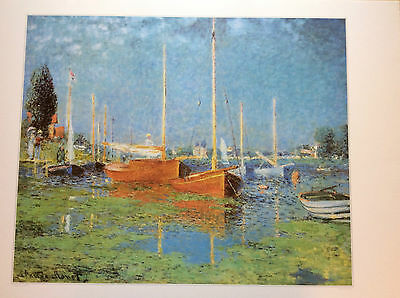 Print of Red boats, Argenteuil, 1875 by Claude Monet - used