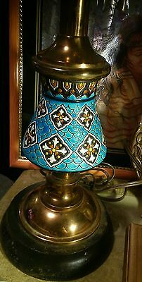 Vintage Antique Oriental Copper Wood Enamel Lamp Base