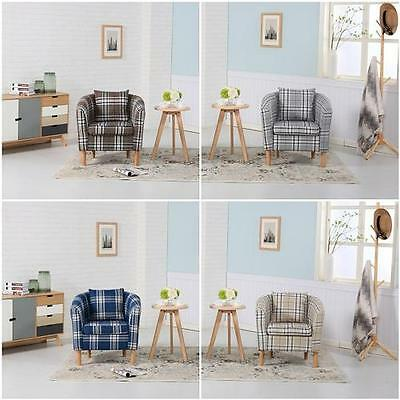 Premium Tartan Fabric Tub Chair Armchair For Dining Living Room Office Reception
