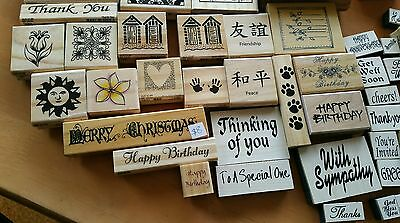 Bulk lot 50+ Rubber Craft stamps, stamps pads & inks. Mostly new never used.