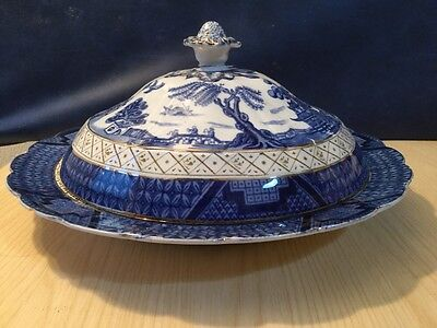 Rare Early Booths Real Old Willow Pattern Lidded Dish Blue & White China