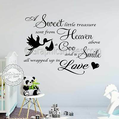 Baby Boys S Nursery Bedroom Wall Stickers Quote Decor Decal With Stork