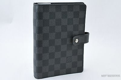 Auth Louis Vuitton Damier Graphite Agenda MM Day Planner Cover R20242 LV 25757