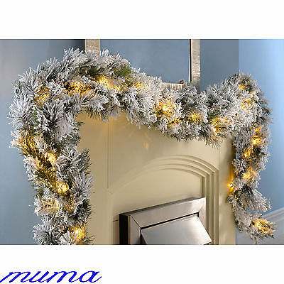 9ft Christmas Garland Pre-Lit Warm White LED Lights Flocked Spruce Pine Cone