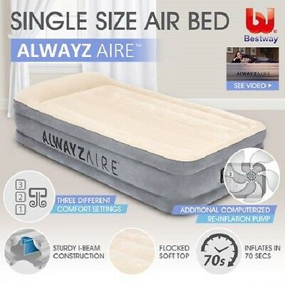NEW Alwayzaire Technology Comfortable Flocked Bestway Inflatable Mattress Single