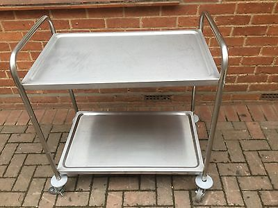 Commercial Hotel Restaurant Catering Food Serving 2 Tier Trolly On Castors