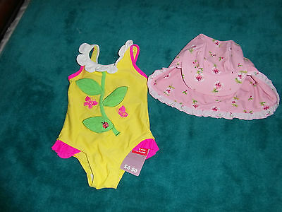 baby swimming costume and sun hat 12-18 months