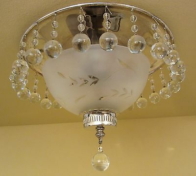 Vintage Lighting exquisite circa 1940 crystal fixture   Ideal for foyer or bath
