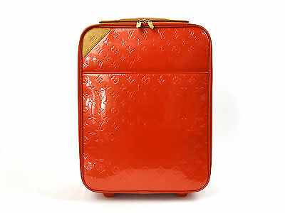 Auth Louis Vuitton Monogram Vernis Pegase 45 Rolling Luggage Orange Sunset 92732