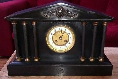 Victorian Temple Style Slate & Brass Mantle Clock. Key wound.
