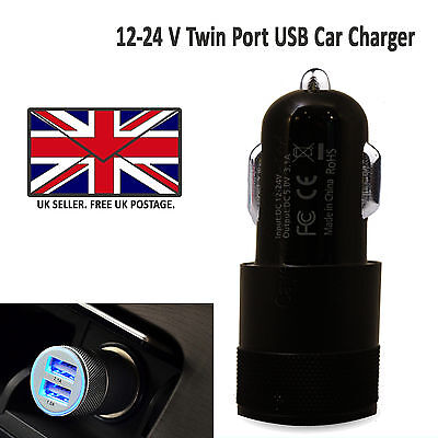 2 In 1 Universal Led Usb Twin Dual In Car Charger Cigarette Socket Lighter Black