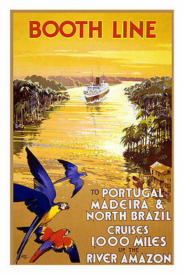 Vintage Booth Line Amazon Portugal Brazil Cruise Travel Poster Art Reprint A4