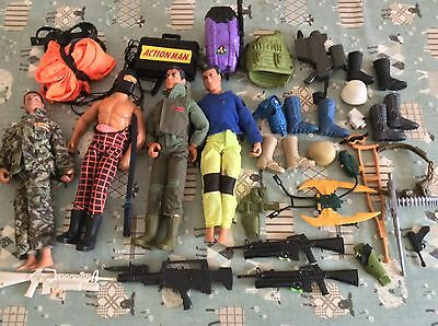 Vintage Hasbro Action Man . 4 X Figures And Lots Of Clothes & Accessories