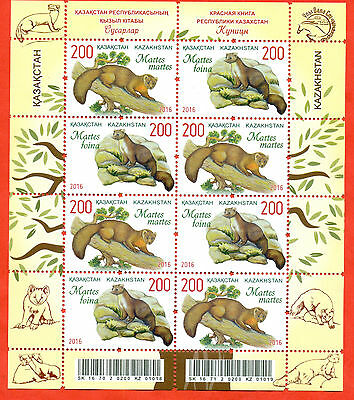 Kazakhstan 2016.Smallsheet . Martens Kazakhstan. Fauna. Red Book. New!!!!