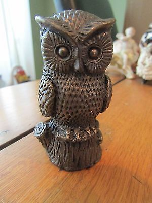 Lovely Owl Bronze Colour Resin Ornament by The Leonardo Collection (?) Very Good
