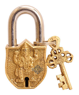 Vintage Style Antique Ganesh Ji Design Lock with 2 Keys for Home Temple Gift