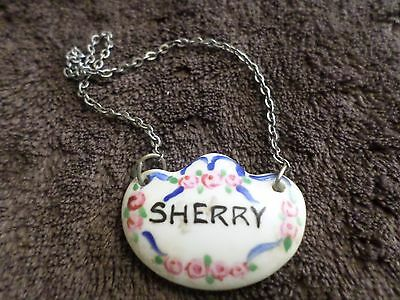 Antique Small Sherry Decanter Label Enamel C1890