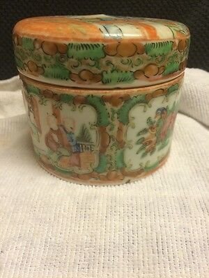 Chinese Cantonese famile verte Round Lidded Box Early1900s