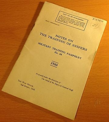 Original 1940 British Military Training Manual/pamphlet #44: Training Of Snipers