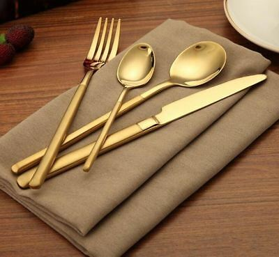 Gold Flatware Service Cutlery Set for 6 STAINLESS Steel GOLD PLATED Lot 24 piece