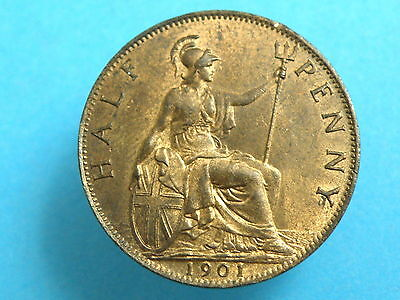 1901 Queen Victoria -  HALFPENNY COIN - Good detail - Good colour