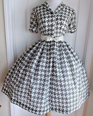vintage 50s large houndstooth grey ivory semi sheer full skirt dress lucy day