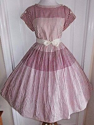 vintage 50s red ivory gingham striped button detail full skirt dress lucy day