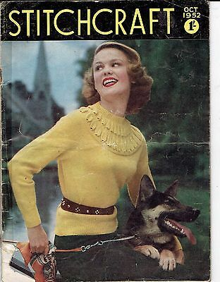 Vintage retro Magazine Stitchcraft  OCTOBER1952 Great lots of things to make