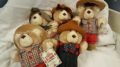 Wendy's Furskins Collectible Bears 1987 Plush Bears Lot of 5
