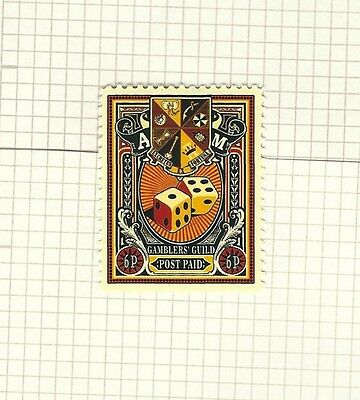 Discworld Stamp 2012 Gamblers' Guild Six Pence Common Rare Retired Dice Wager