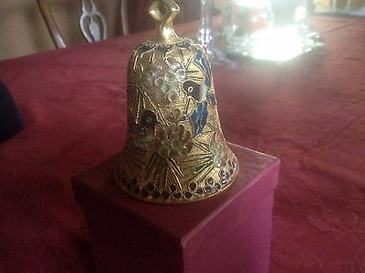 Cloisonne Brass Gold Metal Chinese BELL - Enamel Gilded Floral Flowers/bird