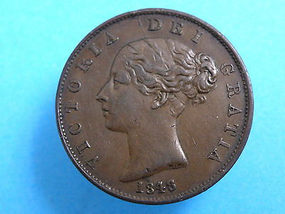 1848 QUEEN VICTORIA COPPER HALFPENNY COIN - 8 over 7 VARIETY - Good Detail