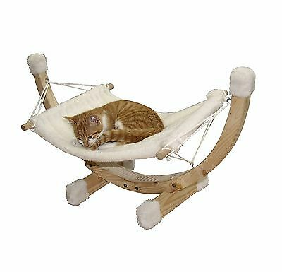Kerbl Siesta Hammock Wood Frame 73x36x34cm White Cat Pet Rat Mouse Kitten New