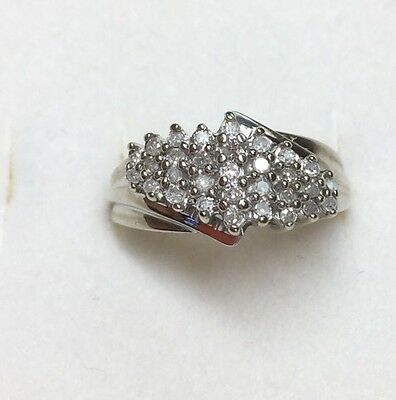 1/2 Ct Natural DIAMOND Ladies  Cluster RING 10K solid White GOLD