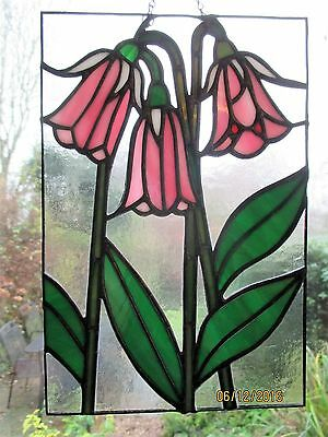 Hand made stained glass flower panel