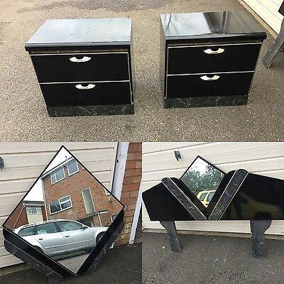 Art Deco mirrored bedroom set Head board drawers and large wall mirror Black