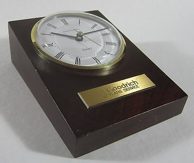 Vintage BF Goodrich Tires Employee Anniversary Wood Hamilton Clock West Germany