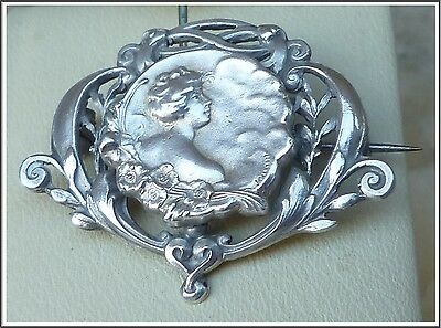 Antique Art Nouveau Nude Lady  Medallion Sterling Silver Brooch Sign