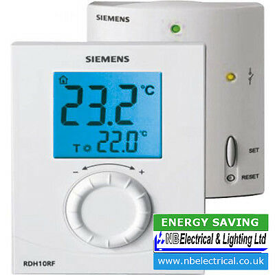 Siemens Wireless Digital Room Thermostat Rdh10Rf/set-Gb