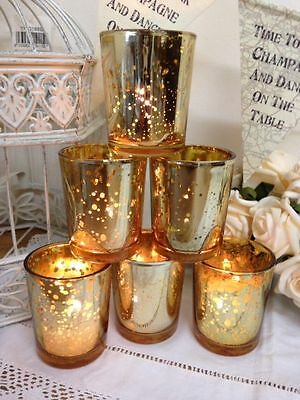 Set of 6 Mercury Glass Gold Tea Light Holders Candle Votive Christmas Decoration