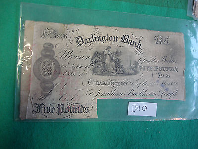 1880 5 Pounds £5 Bank Note England Darlington Bank With Cancellation Cut D10
