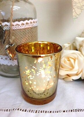 Mercury Glass Antique Gold Tea Light Holder Candle Votive Christmas Decoration